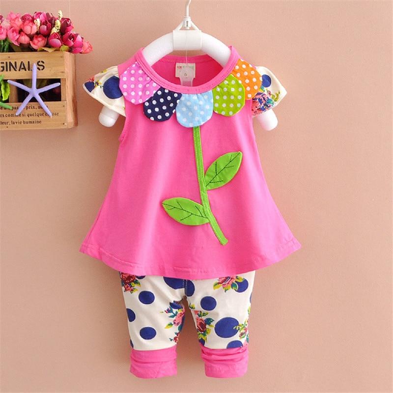 69d25c19d57b3 Baby Girls Sets 2018 Fashion Summer Cute Embroidered Leaves Cartoon Tshirts+pants  Cotton Sleeveless O-neck Kids Clothing Cs030