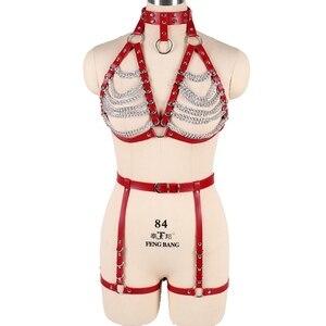 Image 3 - Correa roja Top Cage arnés de cuero sujetador Bondage para mujer cadena de Metal conjunto de arnés corporal liguero cinturón Punk gótico Ajuste de talla grande