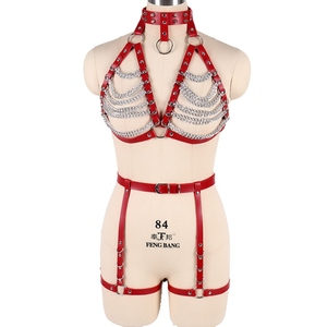 Image 3 - Red Strap Top Cage Leather Harness Bra Bondage for Women Metal Chain Body Harness Set Garter Belt Punk Gothic Plus Size Adjust