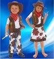 Disfraz de halloween para los niños muchacho y de la muchacha cosplay occidental vaquero varón traje costumecarnival vestir ropa Vaquera