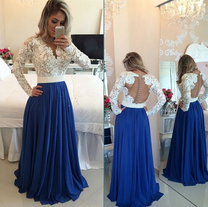 ebfbef88f54 Royal Blue Ivory Lace Modest Prom Dresses Long With Long Sleeves V Neck  Pearls Open Back Elegant Seniors Formal Evening Wear