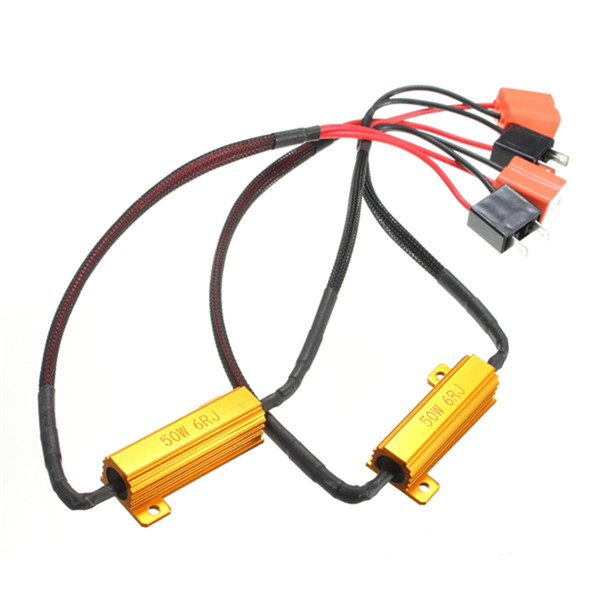 Hot Sale 2X H7 50W 6Ohm Car LED DRL Fog Turn Singal Load Resistor Canbus Error Free Wiring Canceller Decoder