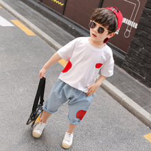 2019 SUMMER boys Two Piece Sets cotton fashion suit short sleeve LOVE T Shirt Jeans for young boy