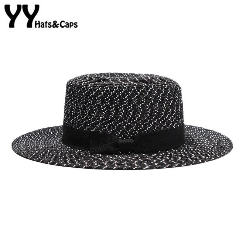 Elagant Flat Straw Sun Hat For Women Summer Beach Cap Fashion Hepburn Black White Sunhat With Wide Brim Chapeaux Femme Yy18052