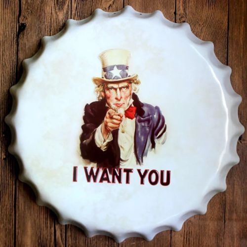 40cm Round US I Want You Relief Bottle Cap vintage Tin Sign Bar pub home Wall Decor Metal art Poster