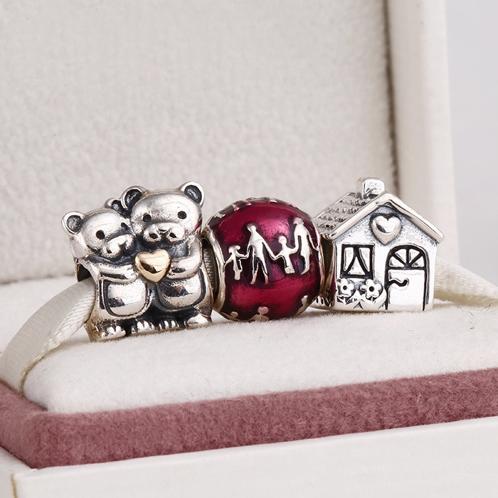 Fits European Charms Bracelet and Necklace 925 Sterling Silver Charm Sets Lovely Bear Charms Beads for Women & Men Jewelry sterling silver 925 fits chamilia charms bracelet motorcycle sports design charm beads european style women diy jewelry