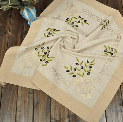 Buy Greece Olive Branch Embroidery Linen Table Cloth 34x34 85X85CM SQ From