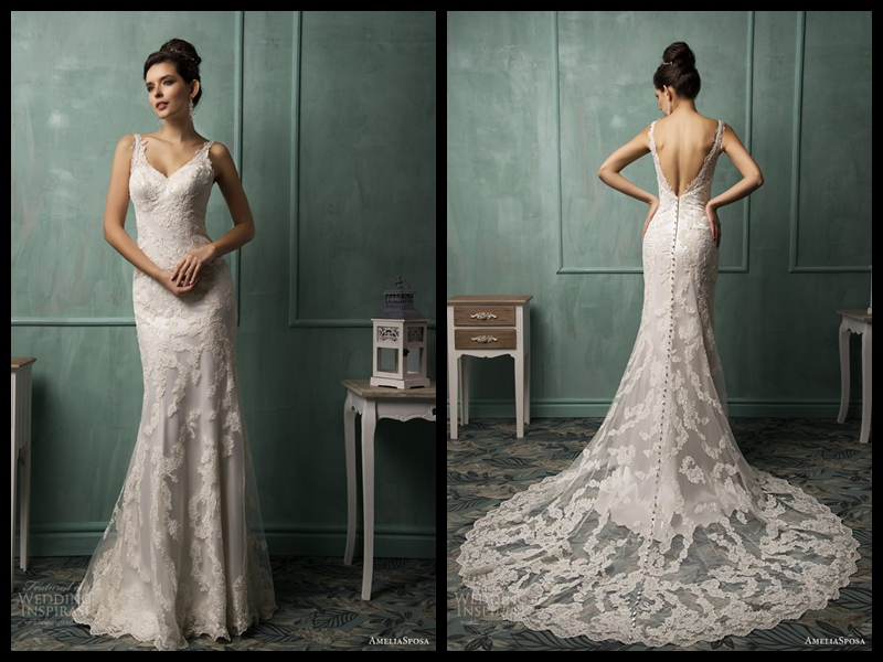 Amelia Sposa 2015 New Designer V Neck Ivory Covered
