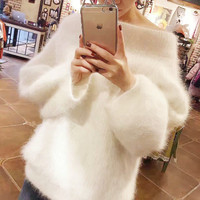 2018 Autumn Winter Women Off The Shoulder Sweater Faux Mink Cashmere Korean Long Sweater Loose Solid Color Women Pullover
