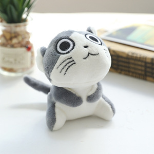 Image 2 - 4 tasarımlar 9 cm Kedi Peluş Doldurulmuş bebek oyuncak Anahtar halkalı anahtarlık Peluş Kedi Bebek Hediye Kızlar için