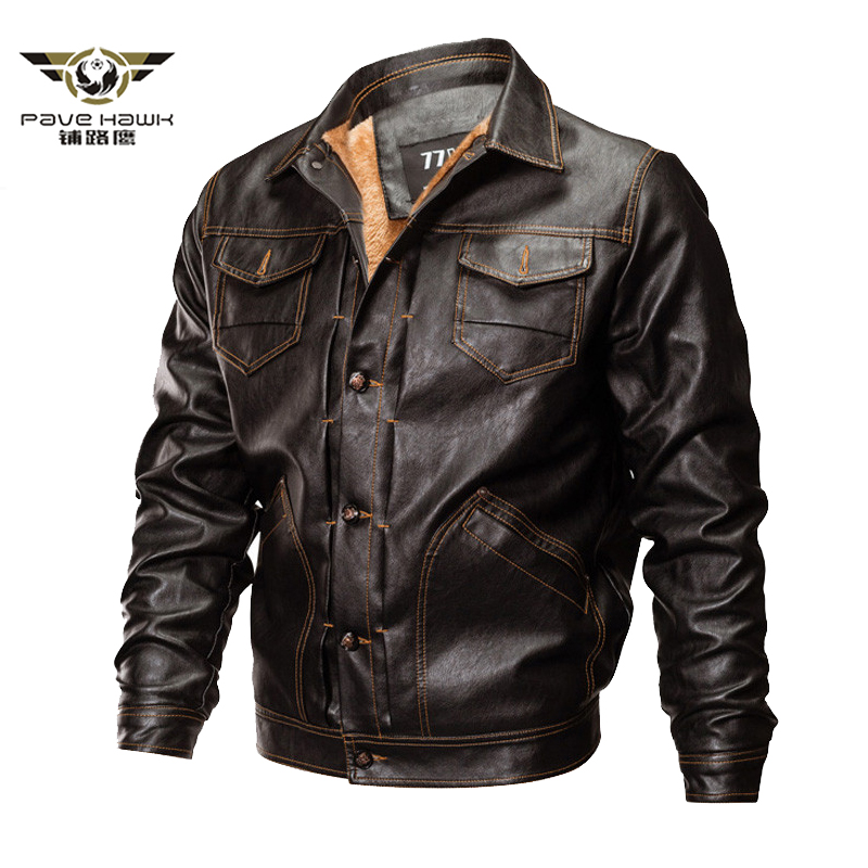 Winter PU Faux Leather Jacket Men Tactical Army Bomber Jacket Warm Military Pilot Coat Thick Wool Liner Motorcycle Jacket S-3XL