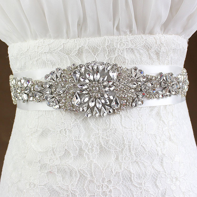 Beautiful Shiny Luxurious Exquisite Bling Woman Bridal Sash with Crystal Rhinestone Formal Wedding Gown Belts Accessories WB02