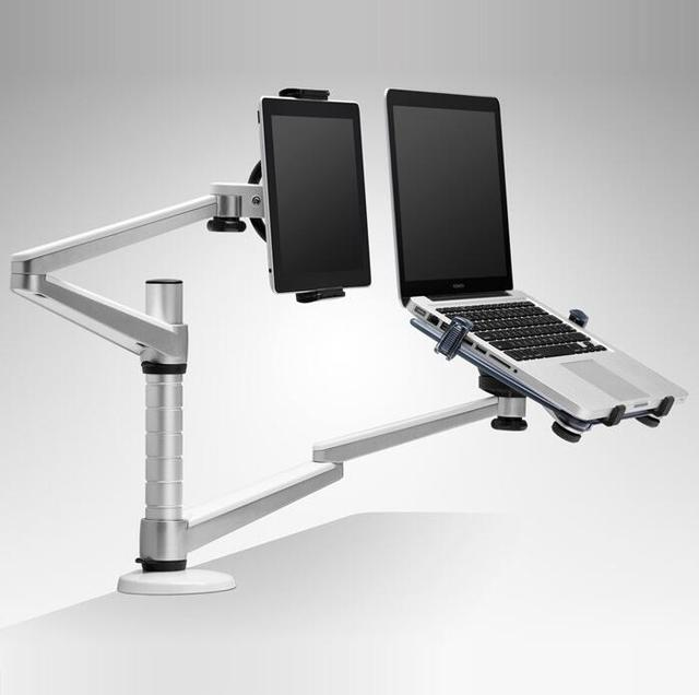 "Aluminum Double arm tablet notebook laptop stand holder for 10-15"" laptop & 7-10"" Tablets mount Adjustable Rotable stand table"