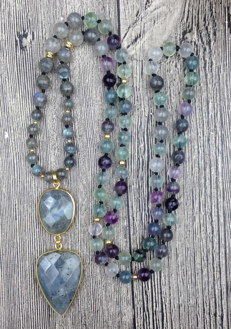 YA2737 Labradorit Anhänger Stein Fluorit Perlen Knoten Handmade Halskette