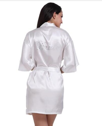 RB030 Sexy Large Size Sexy Satin Robe Bathrobe Perfect Wedding Bride Bridesmaid Rhinestone Letter Robes Dressing Gown For Women