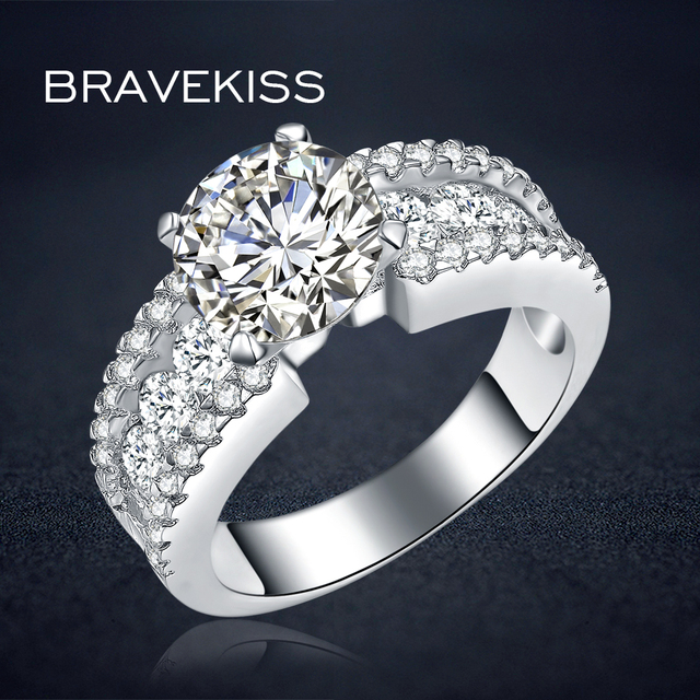 bravekiss classic zircon stone accent solitaire rings for women silberringe wide wedding bands ringen anillo donna