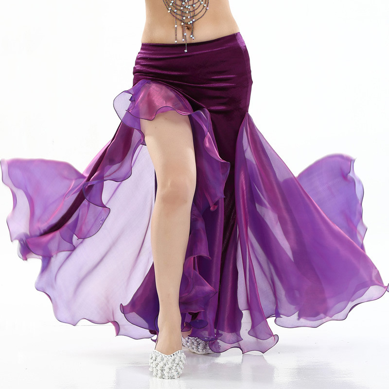 Women Belly Dance Costume Lady Bellydancing Skirt 2-layer Mesh Skirt Sexy Bellydance Wrap Skirt Performance Dancewear
