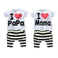 2016 Summer Children Baby Clothing Sets Letters Printed I love Papa Mama Suits T- shirt + Striped Pant Suits Kids Clothes Sets