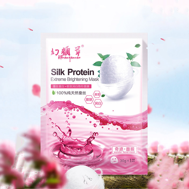 HuanYanCao Moisturizing Protein Silk Facial Mask for face Care,Brightening Oil Control Moisture Skin Tightening Face Mask