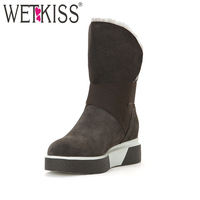 WETKISS 2018 Genuine Suede Leather Women Boots Keep Warm Wool Liner Snow Boots Wedges Platform Winter