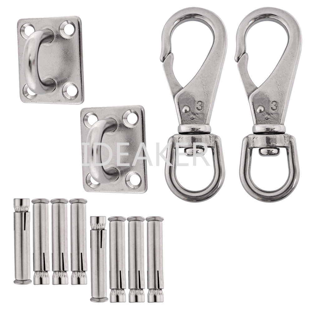 3PCS 304 Stainless Steel Square Shade Sail Hardware Kit M8 Pad Eyes Snap Hooks Self-tapping Screws Installation Tighten Sail