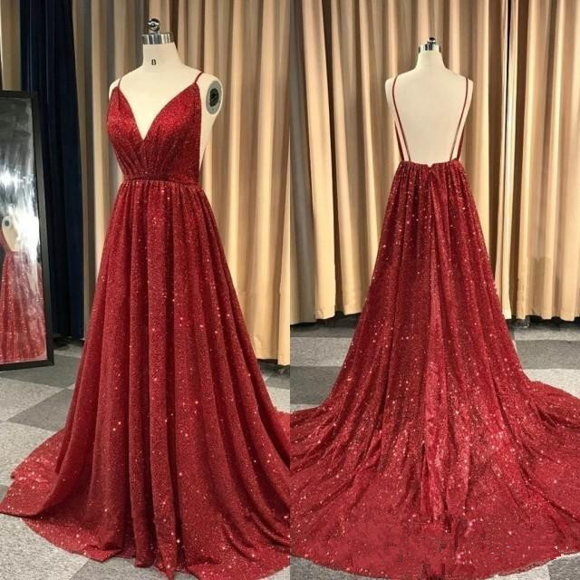 Burgundy Robe De Soiree 2019 A-line V-neck Sequins Sparkle Crystals Backless Sexy Long   Prom     Dresses     Prom   Gown Evening   Dresses