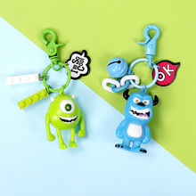 Cute Q Version Monsters Inc. Monsters University Mike Wazowski Sully Keychain Action Figure Model Toys Dolls Key Rings for Gifts
