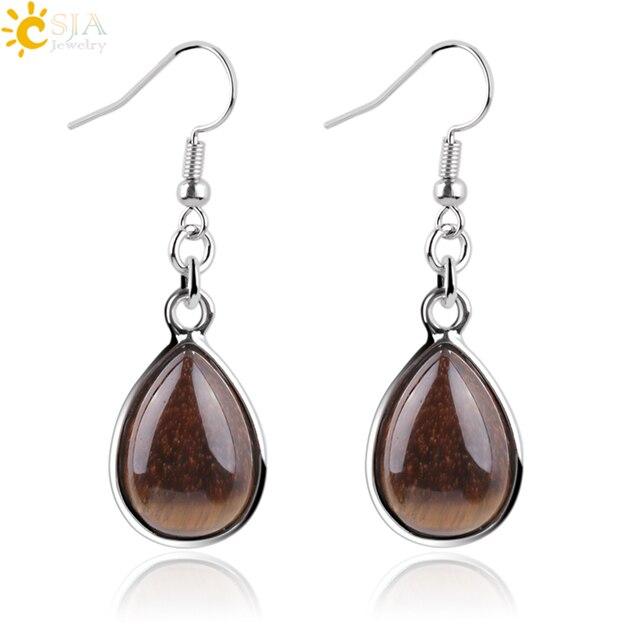 CSJA Fashion Natural Stone Hook Dangle Water Drop Earrings Solid Jewelry for Women Girl Purple Pink Green Gem Stone Dangler E165