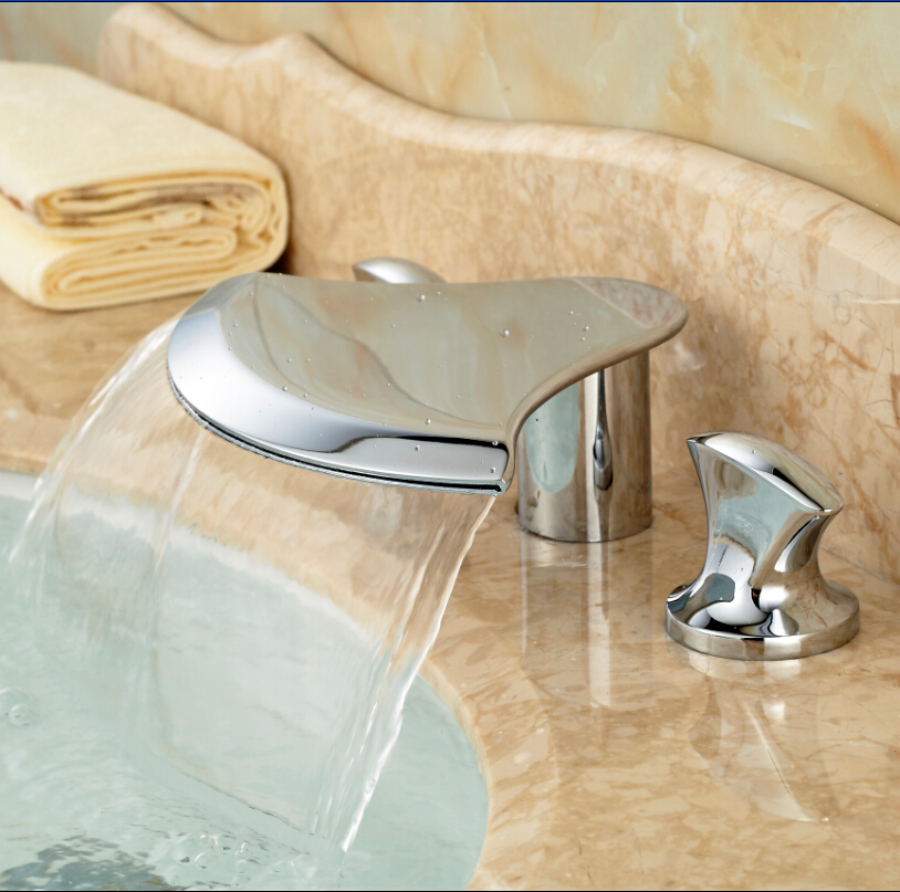 Creative Wide Waterfall Spout Bathroom Basin Faucet Two Handles Widespread Lavatory Sink Mixer Taps Chrome Finish