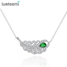 LUOTEEMI Pated AAA Zircon Feather Necklace Pure Handmade Prong Setting Women Fashion Jewelry Chain Necklace Wholesale