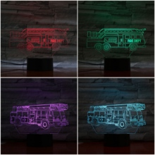 Led Night Light Fire Engine Decoration 7 Color Changing Childrens Kids Nightlight Gifts Table Lamp Bedroom Truck Decor