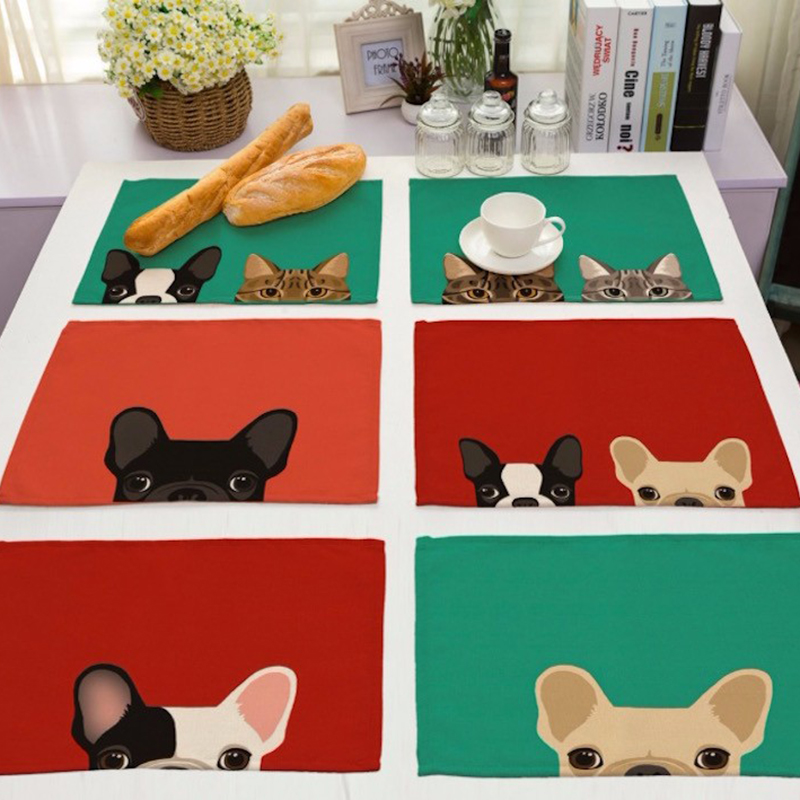 42x32cm Cute Dog Pattern Cotton Linen Western Pad Placemat Insulation Dining Table Mat Anti-skid Coasters Kitchen Accessories