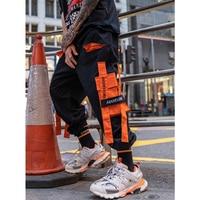 UNCLEDONJM Orange Multi pocket Cargo Pants Streetwear Tactical Pants Harem Pants Men Sweatpants Mens Casual Harem Joggers 262W