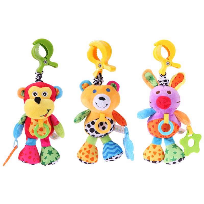 Newborn Baby Plush Toys Rattles Monkey Bear Rabbit Appease Toy Cute Plush Crib Bed Hanging Bells Shake Bell Doll Toys