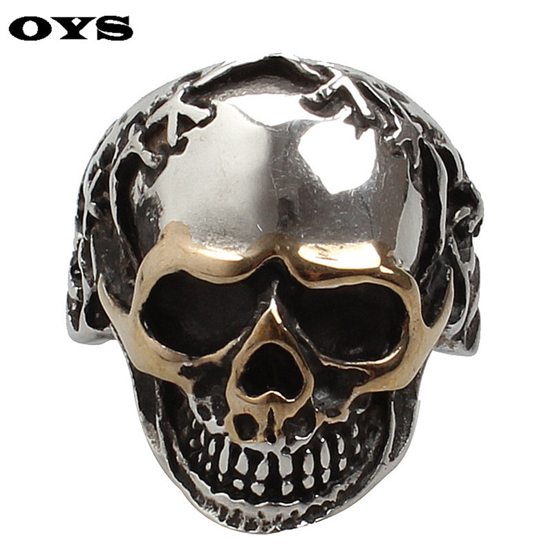 NEW Hot Selling Fashion Titanium Stainless steel Classic Retro Skull Men's Big Skull Ring US 7-12 FREE SHIPPING