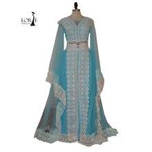 Marokkanischen Kaftan Arabischen V-ausschnitt Eine Linie Bodenlangen Long Sleeve Applizierte mit Spitze Abendkleider Dubai Muslimischen abayas 2017