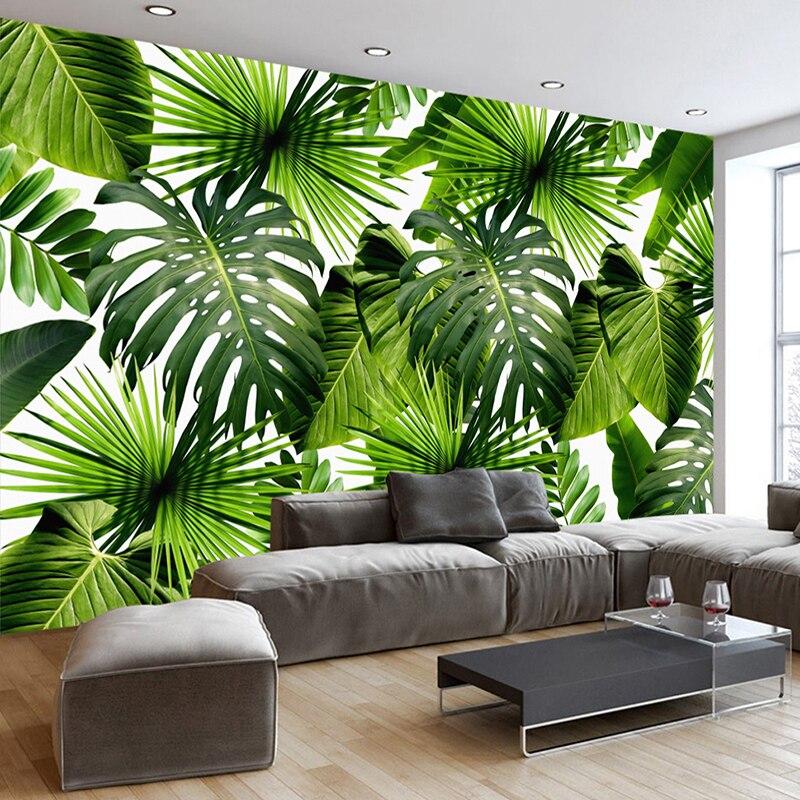 Custom 3D Mural Wallpaper Southeast Asia Tropical Rainforest Banana Leaf Photo Background Wall Murals Non-woven Wallpaper Modern リビング シャンデリア