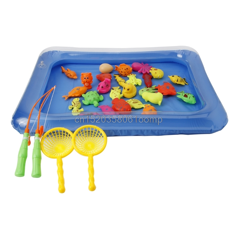 26x Baby Bath Time Magnetic Fishing Toy Vivid Model With Fish Pool For Kids Gift Drop shipping