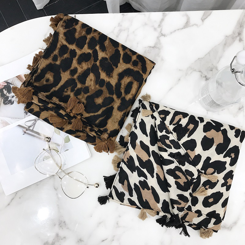 2019 Women Brand Fashion Leopard Dot Tassel Viscose Shawl   Scarf   Print Soft   Wrap   Pashminas Sjaal Muslim Hijab Snood 180*100Cm
