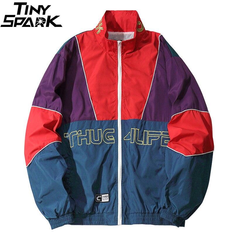 Men Hip Hop Jacket Coat Color Block Patchwork Track Jacket Windbreaker Oversized Retro Vintage Streetwear Harajuku 2018 Autumn