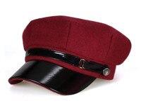 2016 Winter Wool Felt Military Beret Caps Navy Hats Snapback Visor Black Berets Hats For Women