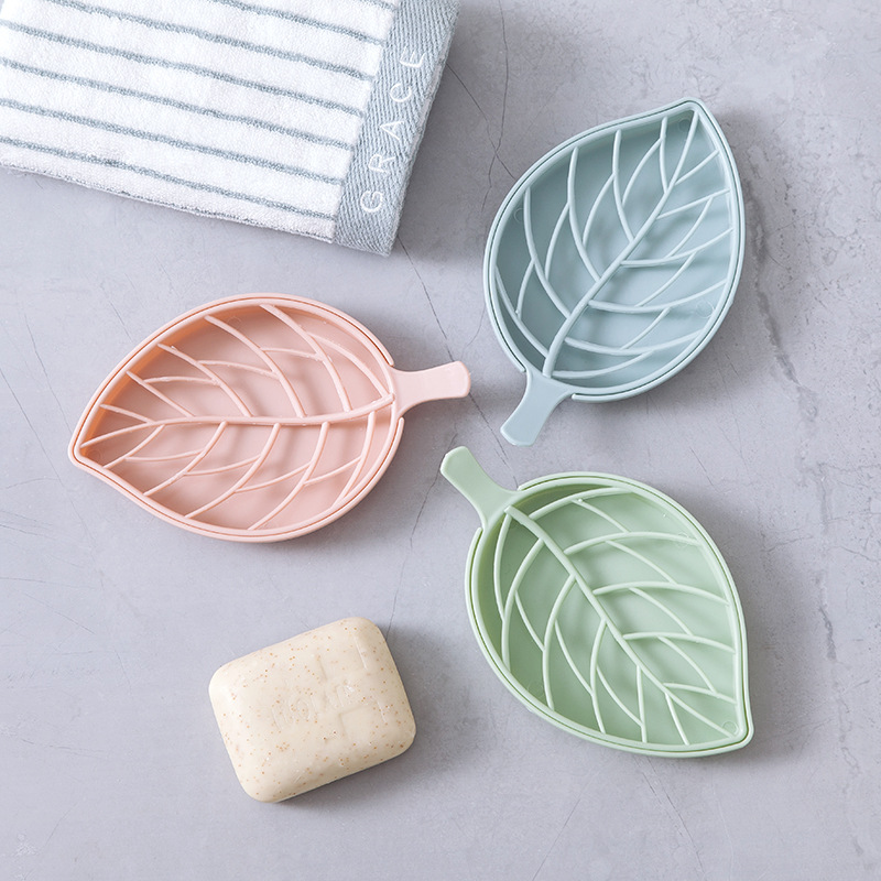 Double Layer Leaf Shape Soap Dispenser Dish Case Holder Container Bathroom Case