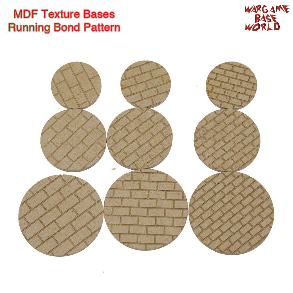 MDF Texture Bases - 25mm - 40mm Round Running Bond Pattern Bricks Texture Bases - Laser Cut Wood