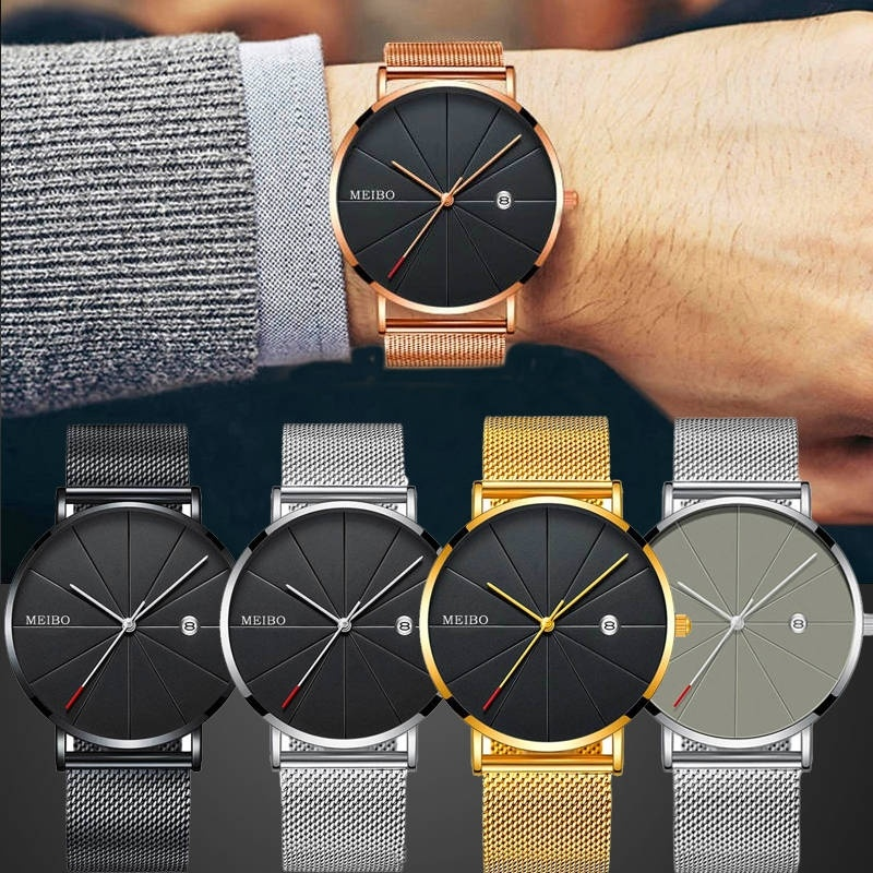 Quartz Wristwatch Clock Mesh-Strap Date Business Stainless-Steel Sports Relogio Masculino
