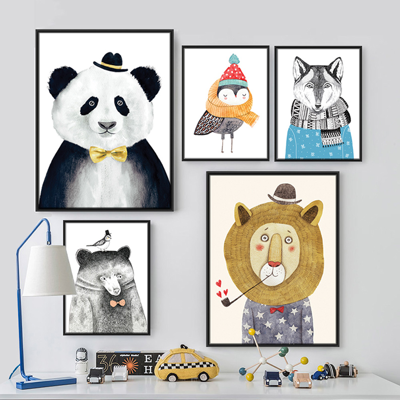 Triptych Watercolor Nordic Animal Lion Bear Panda  Art Prints Poster Hipster Wall Picture Canvas Painting Kids Room Home Decor