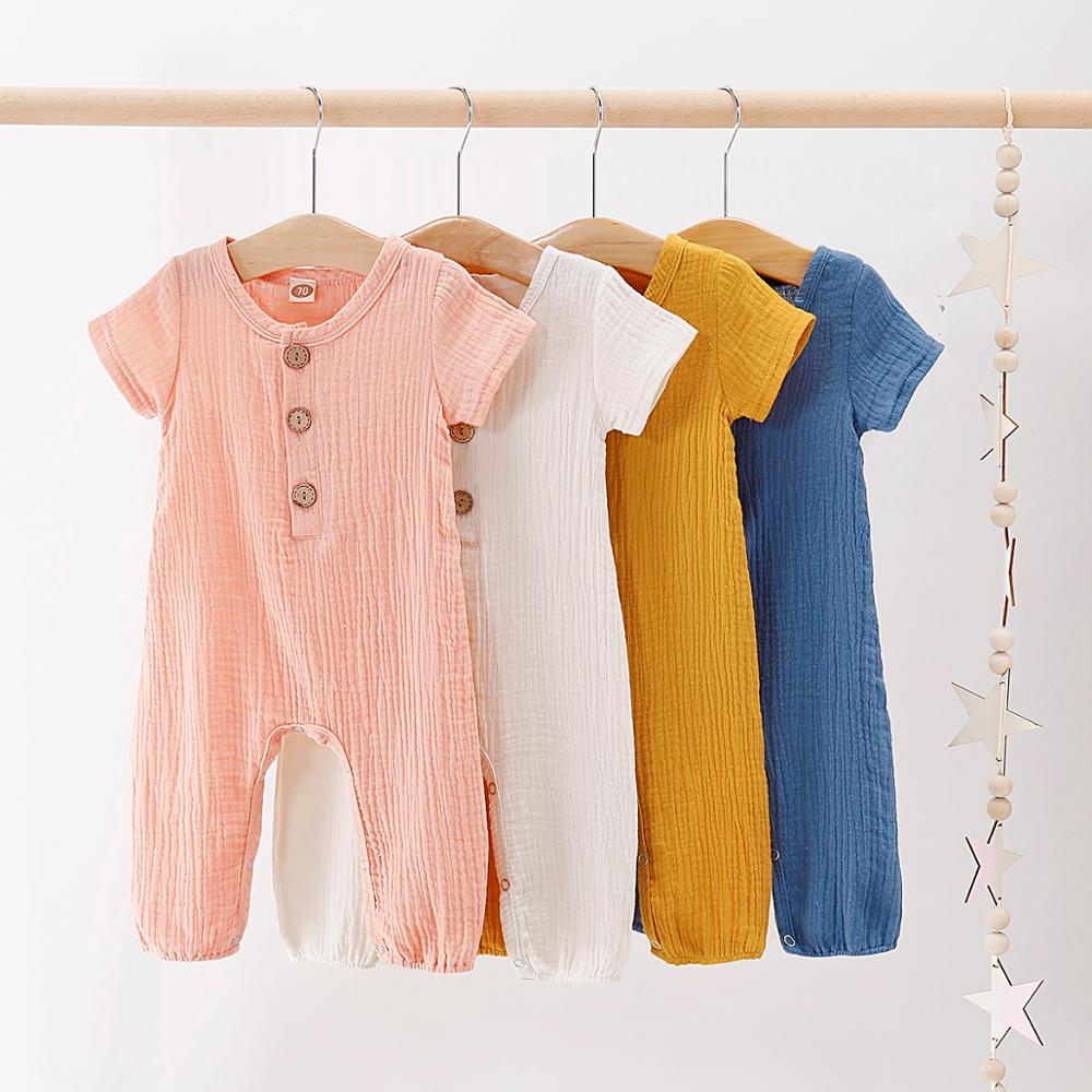 Baby Rompers Summer Short Sleeve Infantil Bebes Girls Playsuits Clothes Candy Color Toddler One Piece Jumpsuits Newborn Overalls