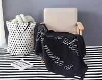 black white Letters cotton knit blankets for children sofa car blankets photography props baby stroller 90*120cm