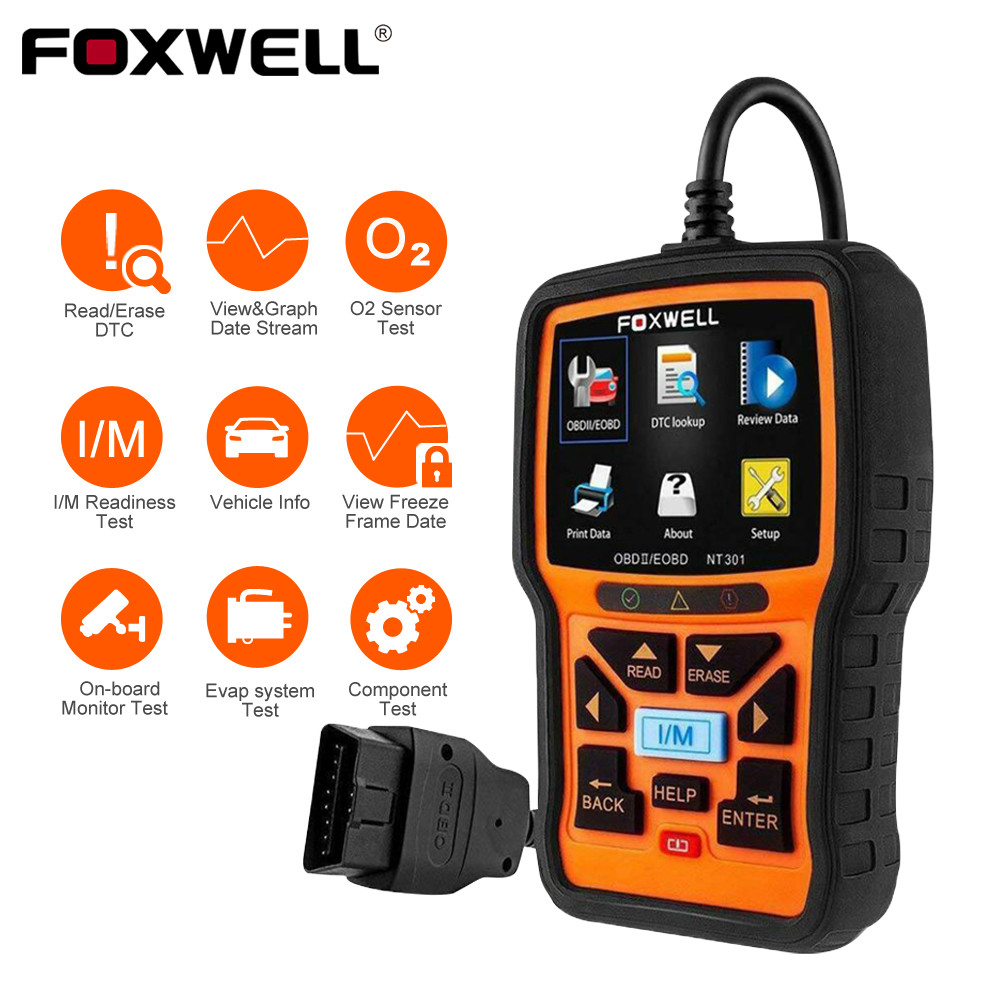 FOXWELL NT301 OBD2 Scanner Professional EOBD OBDII Code Reader Engine Check ODB2 OBD 2 Automotive Scanner Car Diagnostic Tool-in Code Readers & Scan Tools from Automobiles & Motorcycles