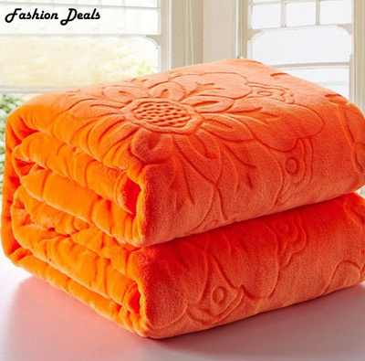 Home Textile Red Color Coral Fleece Blanket Europe Thick Embossed - Home Textile - Photo 6