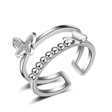 Fashion 925 Sterling Silver Wedding Rings For Women Girls Rhinestones Round Beads Butterfly Ring Silver 925 Jewelry R140